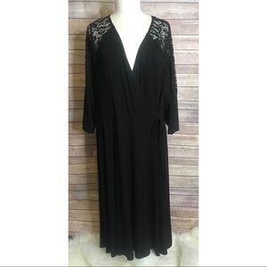 Torrid Black Faux Wrap Midi Dress Stretchy Knit